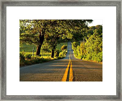 Down The Road Framed Print by Sharon Soberon