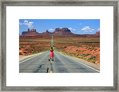 Down The Road To Monument Valley Framed Print