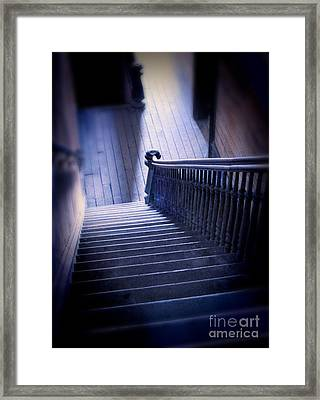 Down The Stairs In Abandoned Building Framed Print by Jill Battaglia
