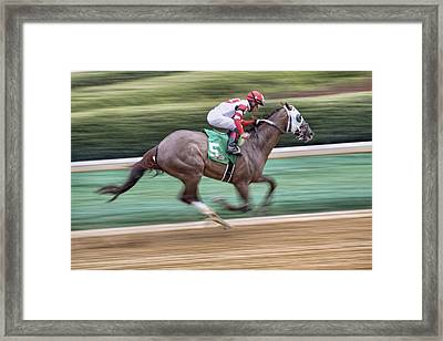 Down The Stretch - Horse Racing - Jockey Framed Print
