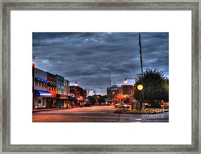 Down Town Granite Falls At Six Thirty In The Morning Framed Print