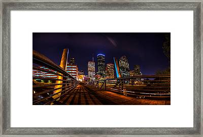 Down Town Houston From The Buffalo Bayou Bridge Framed Print by Micah Goff