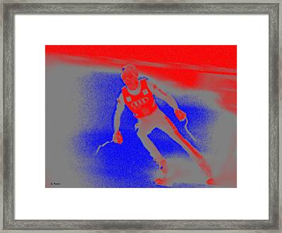 Downhill Skier Framed Print by George Pedro