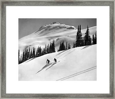 Downhill Skiing In Banff Framed Print by Underwood Archives
