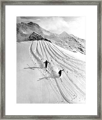 Downhill Skiing In Powder Framed Print by Underwood Archives