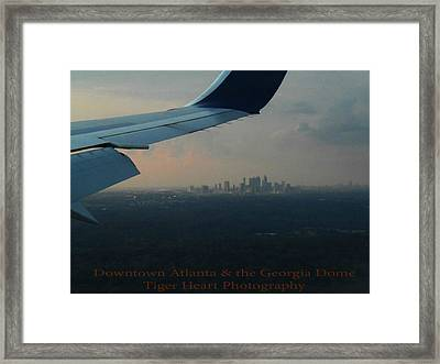 Downtown Atlanta And The Georgia Dome Framed Print by Michelle Adcock