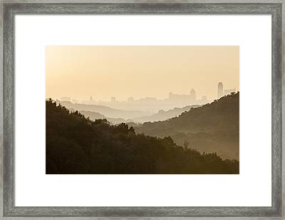 Downtown Austin From 360 On A Foggy Morning Framed Print by Rob Greebon