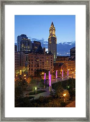 Downtown Boston With The Custom House Tower Framed Print by Juergen Roth