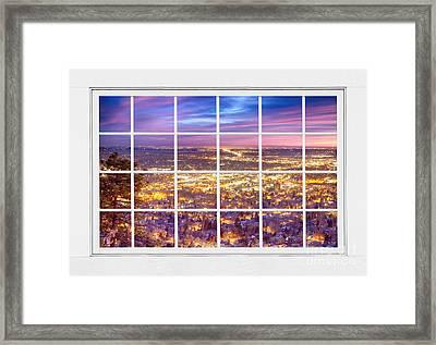 Downtown Boulder Colorado City Lights Sunrise  Window View 8lg Framed Print