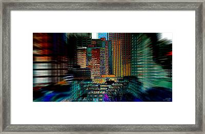 Framed Print featuring the digital art Downtown Chaos by Stuart Turnbull