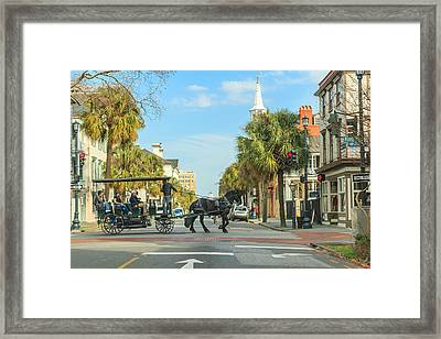Framed Print featuring the photograph Downtown Charleston Stroll by Patricia Schaefer
