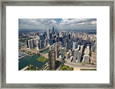 Downtown Chicago Aerial Framed Print by Adam Romanowicz