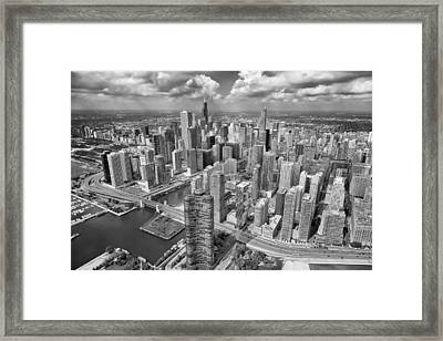 Downtown Chicago Aerial Black And White Framed Print by Adam Romanowicz