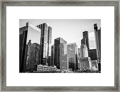 Downtown Chicago Buildings In Black And White Framed Print by Paul Velgos