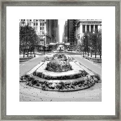 Downtown Chicago In Winter Framed Print