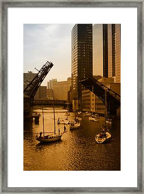 Downtown Chicago Framed Print by Miguel Winterpacht