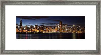 Downtown Chicago Panorama Framed Print by Andrew Soundarajan