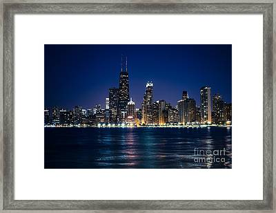 Downtown City Of Chicago At Night Framed Print by Paul Velgos