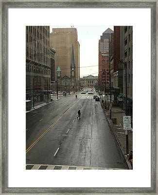 Downtown Cleveland Looking North Framed Print by Patricia Januszkiewicz