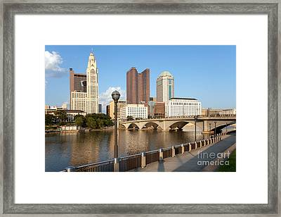 Downtown Columbus Ohio Skyline Framed Print by Bill Cobb