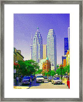 Downtown Core Flatiron Building And Cn Tower Toronto City Scenes Paintings Canadian Art Cspandau Framed Print by Carole Spandau