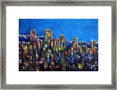 Downtown Denver Night Lights Framed Print