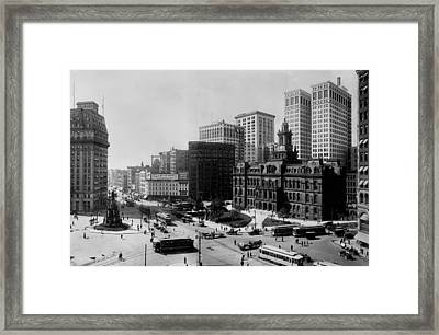 Downtown Detroit 1915 Framed Print by Mountain Dreams
