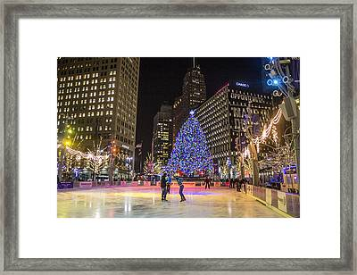 Downtown Detroit Ice Rink  Framed Print