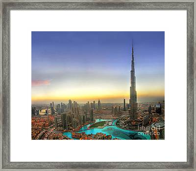 Downtown Dubai At Sunset Framed Print
