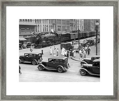 Downtown Empire State Express Framed Print by Underwood Archives