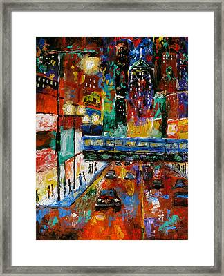 Downtown Friday Night Framed Print by J Loren Reedy