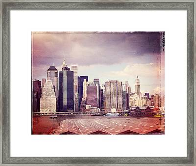 Downtown From Brooklyn Framed Print by Frank Winters