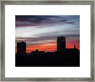 Downtown Glow Framed Print by Rona Black