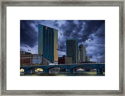 Downtown Grand Rapids Michigan By The Grand River With Gulls Framed Print by Randall Nyhof