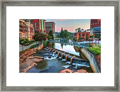 Downtown Greenville On The River Framed Print