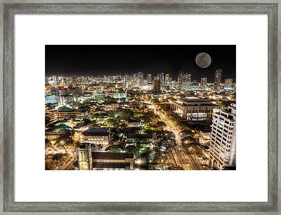 Downtown Honolulu Moonrise Framed Print