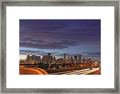 Downtown Houston After The Storm Framed Print by Silvio Ligutti