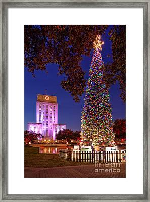 Downtown Houston Christmas Tree And City Hall At Twilight - Houston Texas Framed Print