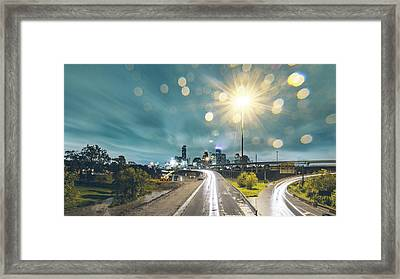 Downtown Houston Flooding At Night Framed Print by Onest Mistic