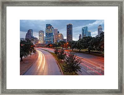 Downtown Houston From The Allen Parkway Foot Bridge - Houston Texas Framed Print