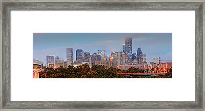 Downtown Houston Panorama At Dawn Framed Print by Silvio Ligutti