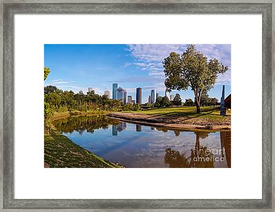 Downtown Houston Panorama From Buffalo Bayou Park Framed Print