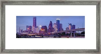 Downtown Houston Panorama From Hogan Street Bridge - Houston Texas Framed Print by Silvio Ligutti