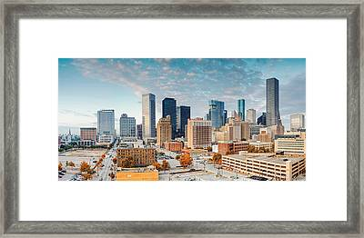 Downtown Houston Panorama Framed Print