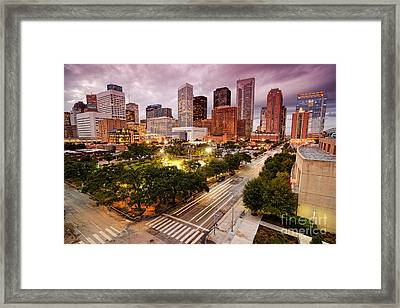 Downtown Houston Skyline During Twilight Framed Print