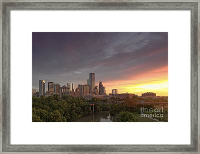 Downtown Houston Skyline Glorious Sunset Light Framed Print by Silvio Ligutti