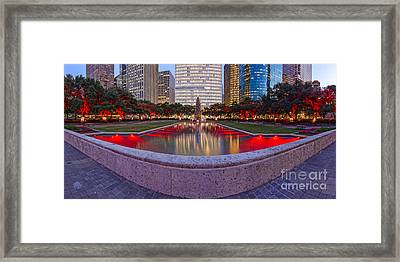 Downtown Houston Skyline Hermann Square City Hall Decked Out In Christmas Lights - Houston Texas Framed Print