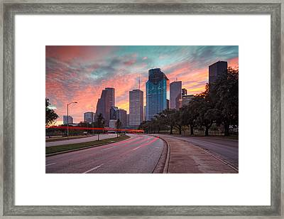 Downtown Houston Skyline The Great Fire Of 2012 Framed Print