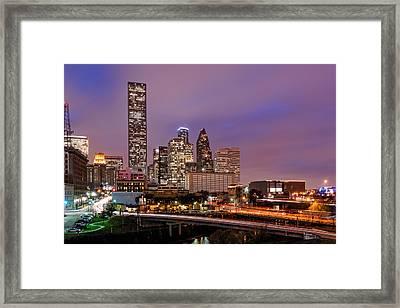 Downtown Houston Texas Skyline Beating Heart Of A Bustling City Framed Print by Silvio Ligutti