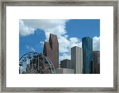 Downtown Houston With Ferris Wheel Framed Print